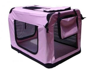 "30"" Pink Portable Pet Dog House Soft Crate Carrier Cage Kennel Free Carry Case"