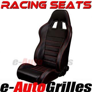 Universal Sport JDM Style Racing Seats Matte Black PVC Leather Red Stitch Accord