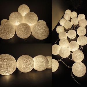 20 White Lantern Tone Handmade Cotton Balls Fairy String Lights Home Decor