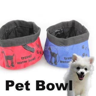 Pet Dog Cat Folding Collapsible Portable Travel Camping Food Dish Water Bowl