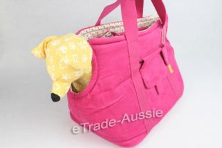 Stylish Corduroy Pet Carrier Tote Bag Comfy Soft Cotton for Dog Puppy Cat Pink