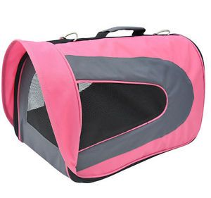 Pawhut Soft Sided Pet Dog Cat Travel Crate Carrier Tote Shoulder Bag Pink