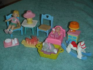 Fisher Price Loving Family Dollhouse Lot Furniture People Food Pet Cat