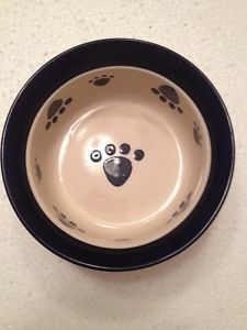 Paw Print Stoneware Pottery Dog Cat Pet Bowl Food Water Dish Small