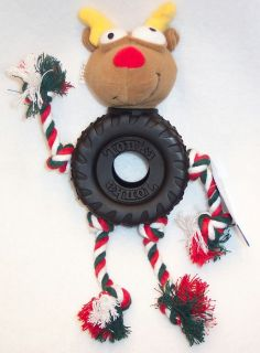 Tonka Holiday Rudolph Reindeer Rope and Tire Dog Toy Pet Toys Puppy Christmas