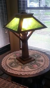 RARE Stickley Mission Oak Era Arts and Crafts Table Lamp Slag Glass