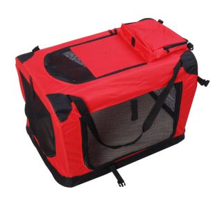 "New 36"" Red Portable Folding Dog Cat Pet Carrier Tote Crate Dog Cage w Mat"