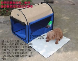 "32"" Blue Beige Pet Dog Cat Carrier Travel Bag Crate Tent Cage Folding w Case"