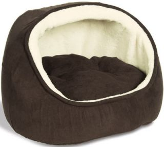 New Cat Bed Hooded Cat Snuggler Pet Bed with Cushion Brown 51467