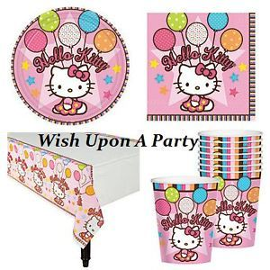 Hello Kitty Birthday Party Tableware 16 Plates Cups Napkins Tablecover Set Kit