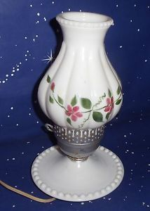 Vtg White Milk Glass Table Lamp Hand Painted Pink Roses Glass Hurricane Shade