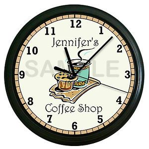 Personalized Coffee Shop Wall Clock Latte Kitchen Decor Clock Art Cafe