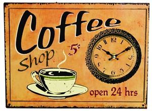 Tin Antique Style Coffee Shop Sign Wall Clock Clocks Sign Signs Kitchen Decor