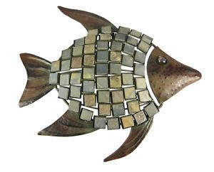 16 inch Metal Tile Fish Wall Hanging Art Decor