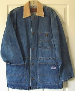 Big Smith Medium Blue Denim Unlined Jacket Barn Coat Train Engineer Men or Women