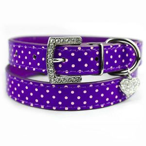 Purple Polka PU Leather Dog Collars Dot Puppy Cat Collars with Diamond Heart Tag