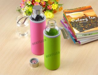 High Quality Clear Glass Water Bottle w T Lid and Cover 550ml 18 5 FL Oz