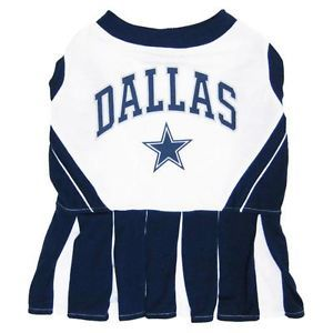 Dog Pet Dallas Cowboys NFL Football Cheerleader Outfit Collar Leash Costume