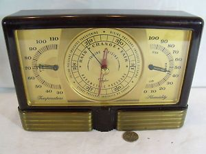 Vintage Art Deco Bakelite Taylor Instruments Desk Weather Station Barometer