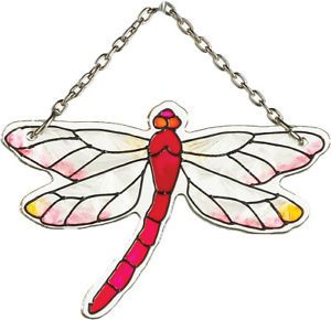 """Stained Glass"" Water Cut Dragonfly Mini Suncatcher"