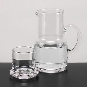 2 Piece Clear Crystal Glass Water Beverage Carafe Pitcher and Cup Bedside Set