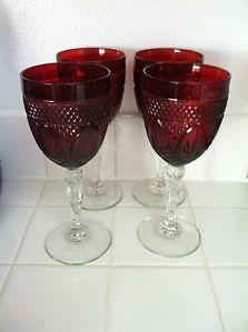 Cris D'Arques Ruby Red Pressed Glass Antique Wine Water Goblets 4
