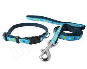 "8 12"" Blue Ribbon Nylon Dog Collar 4 ft Leash Durable Small XS Set"