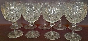 Great Set of Nine Antique Circa 1920's Brilliant Cut Glass Wine Water Glasses