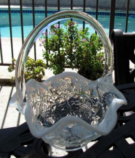 Fenton's Water Lily Opalescent Glass Basket Handler Stamp of Ron Bayles
