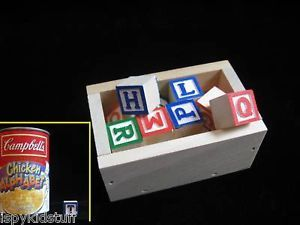 Mini Wood Alphabet Blocks Letters w Wooden Crate Craft