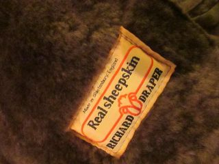 Mens Vtg 1980s Brown Real Sheepskin Fleece Leather Winter Coat Jacket Large 42