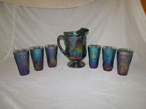 Vintage Indiana Blue Carnival Glass Harvest Grape Water Pitcher 6 Glasses