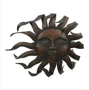 Blowing Sun Face Wall Hanging Indoor Outdoor Metal Art Home Decor Accents