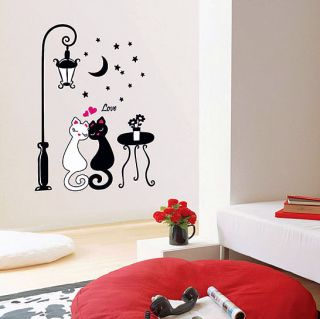 Two Cats Wall Stickers Home Decor Vinyl Decals Mural