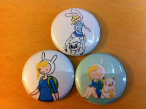"Adventure Time Fionna and Cake Set of 3 1"" Pins Pinback Button Finn Jake Season"
