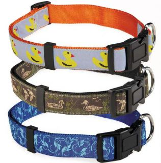 Zack Zoey Water Ways Nylon Dog Collar Pet Collars Duck Mallard Scroll