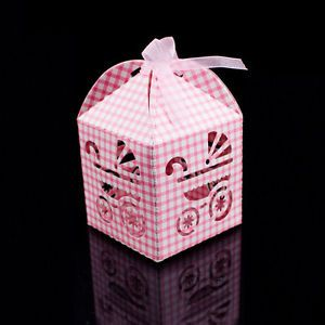 Pink Baby Carriage Favor Candy Box Party Baby Shower Decorations 24pcs