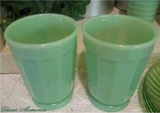 Jadeite Jade Jadite Green Milk Glass Water Juice Beverage Glasses Tumblers Cups