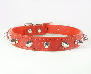 Red Small 8 11inch PU Leather Spiked Studded Dog Cat Collars Puppy Pet Collars