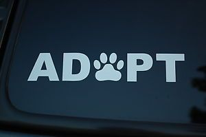 Adopt Dog Puppy Cat Vinyl Sticker Decal Paw Print Rescue Pet Collar Leash V74