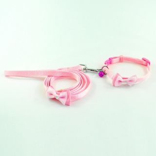 Pink Arcylic Stones Bowknot Nylon Dog Puppy Cat Collar Leash Set with Bell