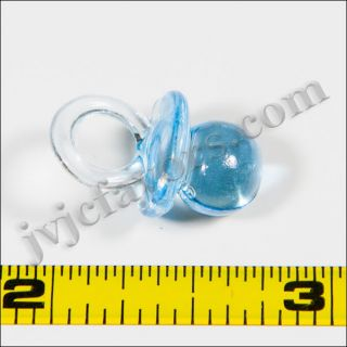 48 Pcs Mini Pacifiers Baby Shower Favor Clear Blue Boy Decor Party Decorations