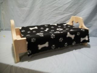 Wood Pet Bed Dog Bones Paw Print Fleece Blanket Small Miniature Toy Dog Beds