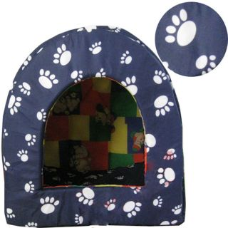 New Soft Pet Dog Cat House Puppy Bed Tent Yurt Dog Cute House Blue