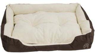Deluxe Brown Dog Bed with Soft Fleece Fur Bed Cat Pet Bed Basket 4 Sizes