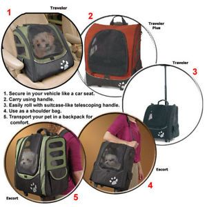Pet Carrier Car Seat Wheeled Backpack I Go Traveler Dog Sage 73443