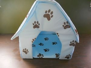 Medium Indoor Pets Dogs Cats Blue Collapsible Soft Bed House Portable Dog House
