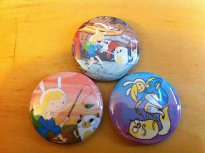 "Adventure Time Fionna and Cake Set of 3 1"" Pins Pinback Button Finn Jake Set 2"
