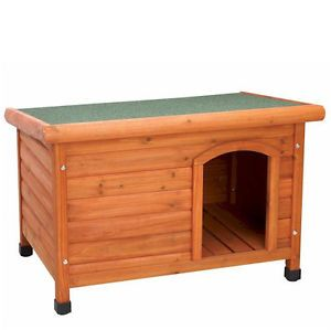 Dog House Flat Top Raised Outdoor Wood Large Medium Small Cat House