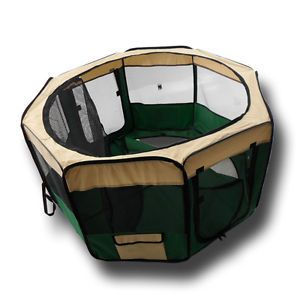 "Dr Fish's Pet Gear 45"" Green Pet Playpen Exercise Puppy Dog Pen Kennel"